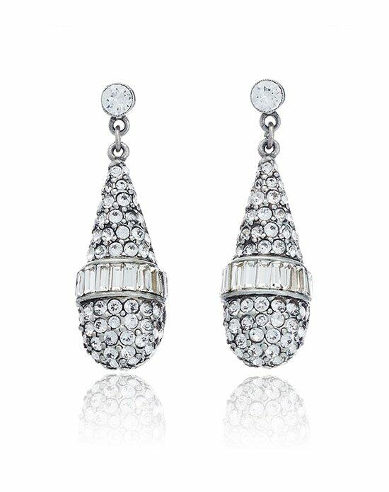 Thomas Laine Ben-Amun Bridal Briolette Crystal Drop Earrings Wedding Earrings photo