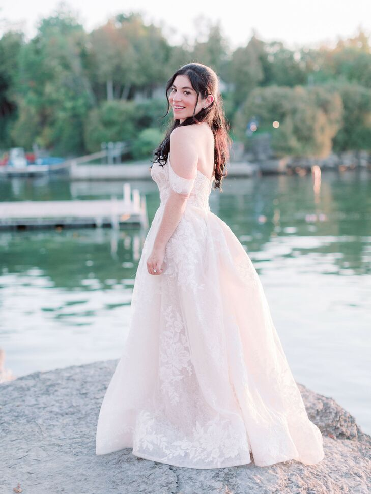 Off-the-Shoulder Dress for Wedding at Basin Harbor Club in Vergennes, Vermont