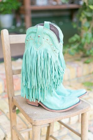 Turquoise Cowboy Boots With Suede Fringe