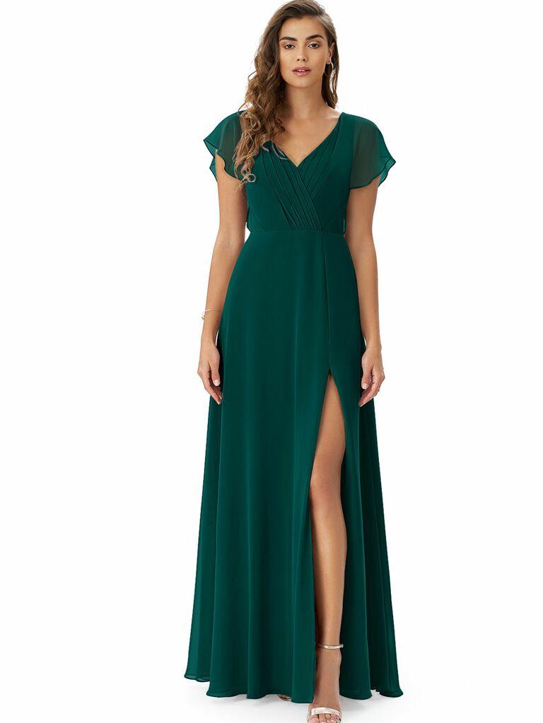 Emerald green cap sleeve formal fall wedding guest dress
