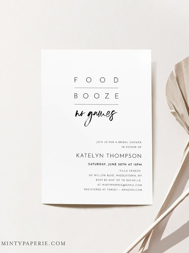 'Food, booze, no games' in minimal black type on white background