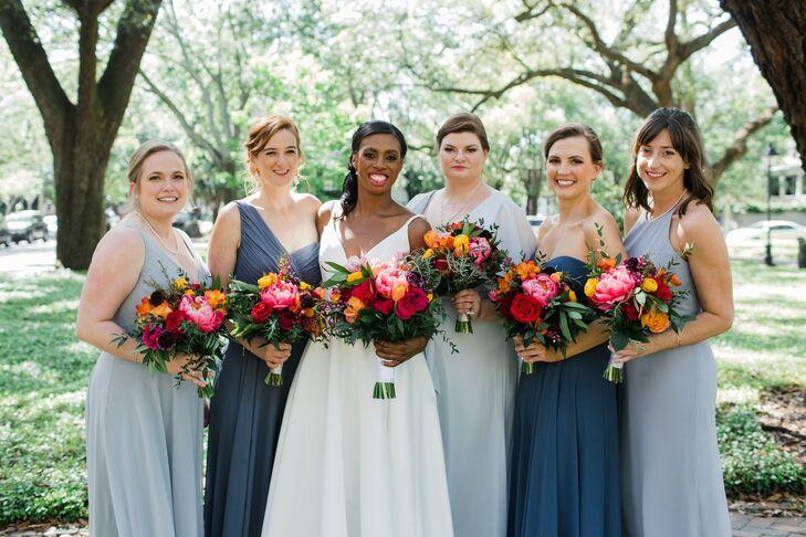 Bridesmaids in Long Blue Dresses at Savannah, Georgia, Wedding