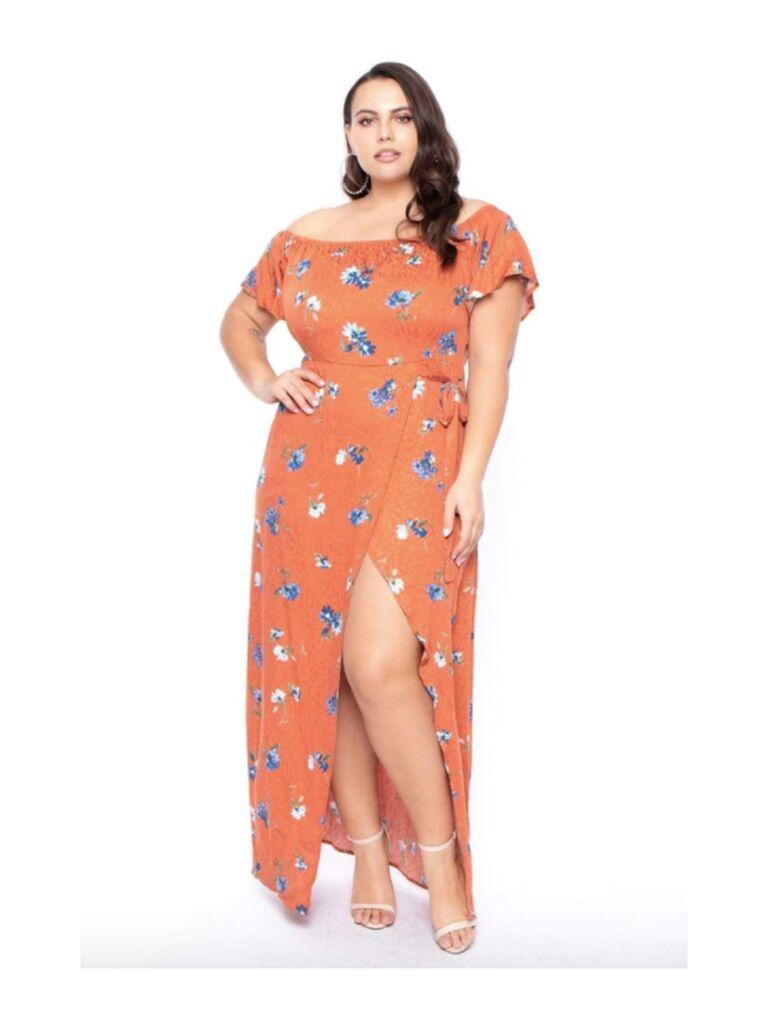 Orange off-the-shoulder floral dress