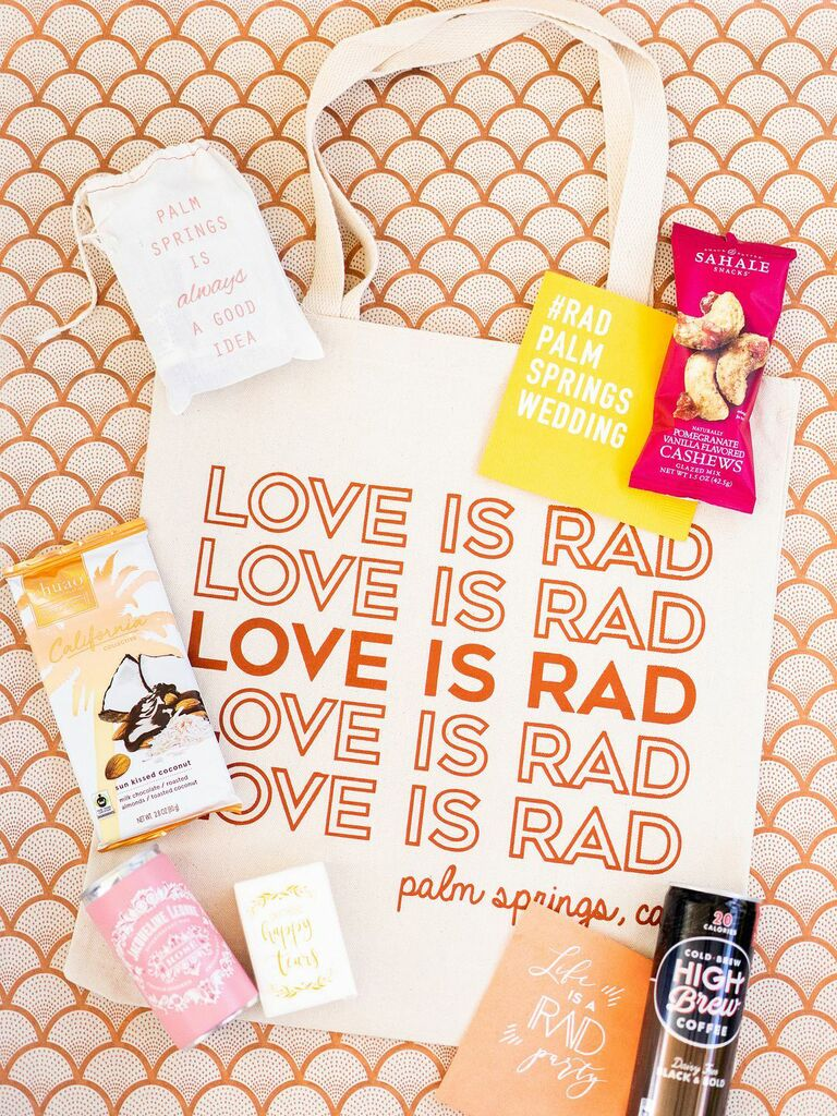 Palm Springs wedding welcome bag with cute Love Is Rad print