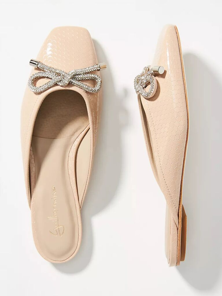 anthropologie nude mother of the groom mules with jeweled bow
