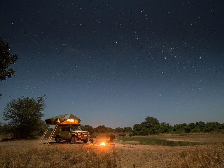 Camping under the stars beside an oxbow lake at Kalovia