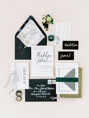 Wedding Invitations and Paper Goods Alluded to the Modern-Meets-Romantic Wedding Celebration