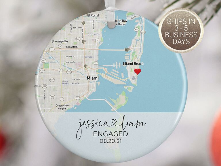 Circle ornament with map background and personalized names at bottom