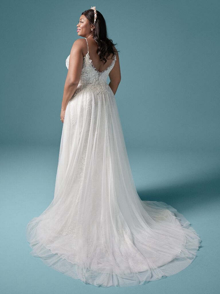 maggie sottero white a line wedding dress with spaghetti straps pleated tulle skirt and lace scoop back