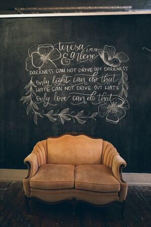 Vintage Details with Chalkboard at Wedding at The Turn Vintage Warehouse in Newport, Kentucky