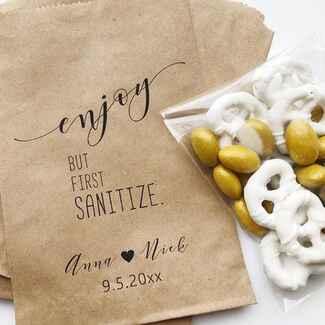 Custom paper bag with hand sanitizer wedding favor
