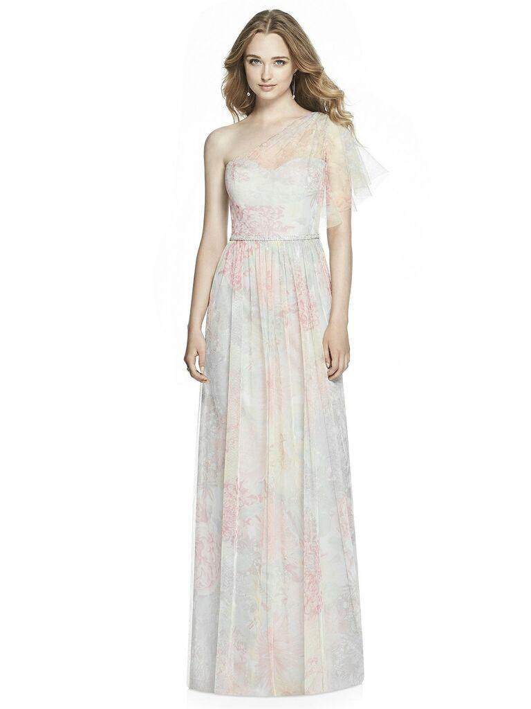 Pastel embellished floral bridesmaid dress
