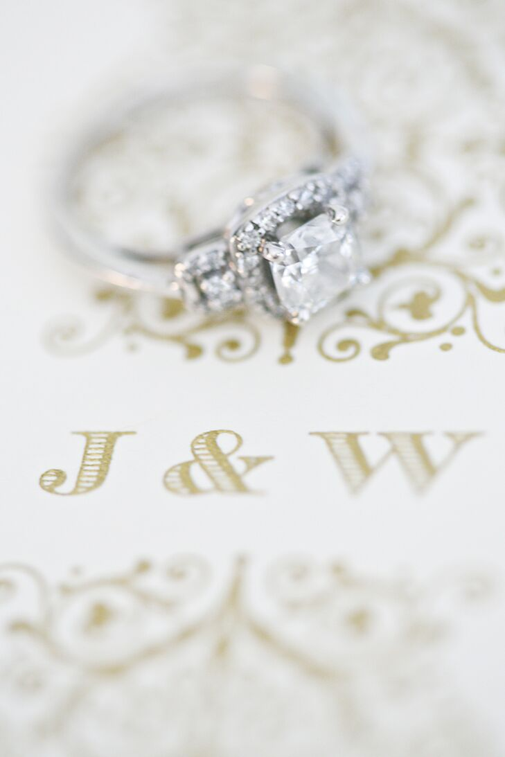 """Billy proposed with a princess-cut diamond engagement ring with a halo. """"My ring has an old-world antique feel, which I love,"""" Jessica says."""