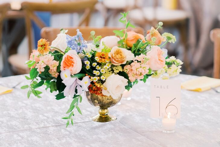 Romantic Rose Centerpiece in Gold Vessell