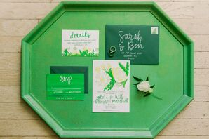 Green Wedding Invitations with Calligraphy