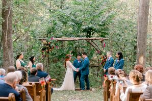 Bride and Groom Exchanged Vows Underneath a DIY Arbor They Crafted Together