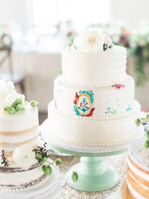 White Buttercream Wedding Cake With Anchor Detail