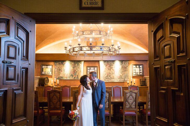 Elegant Kissing Shot Inside Elegant Venue