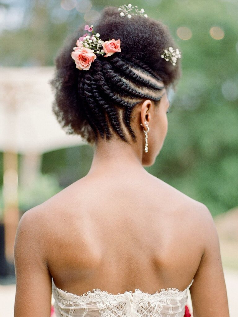 Natural hair updo with braids in the back