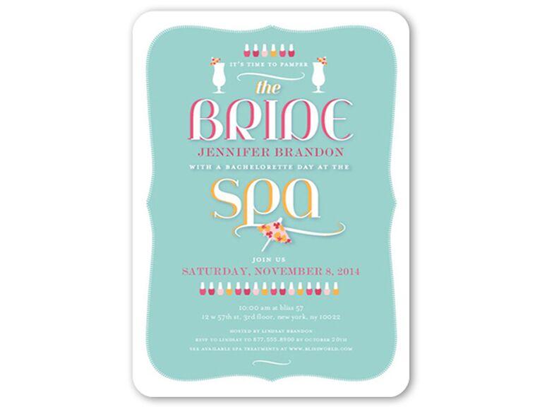 Stylish Spa Day Bachelorette Party Invitation