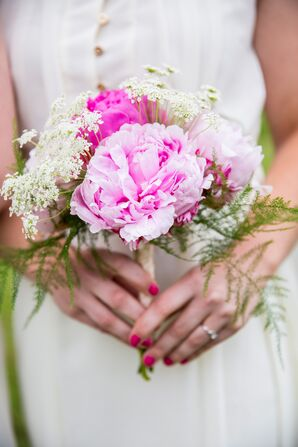 Pink Peony and Queen Anne's Lace Bridal Bouquets
