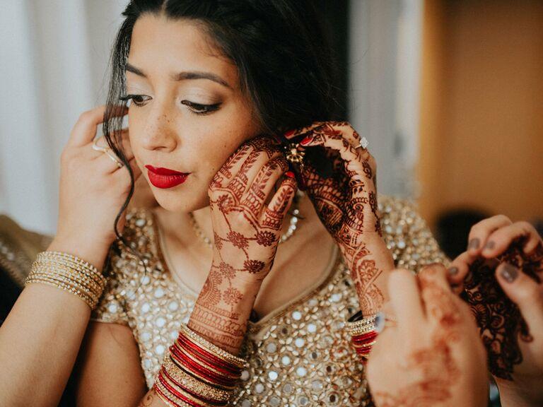 Intricate bridal henna tattoos
