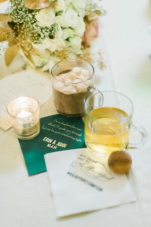 Hot Chocolate and Apple Cider with Custom Napkins