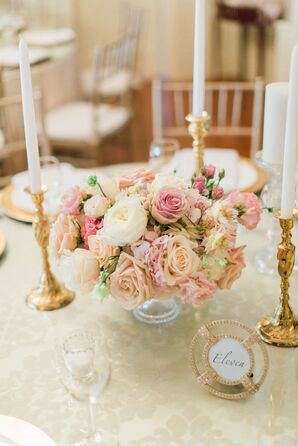 Pink Rose Centerpiece With White Ranunculus