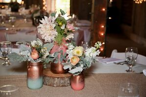 Peach, Mint and Gold Painted Mason Jar Centerpieces