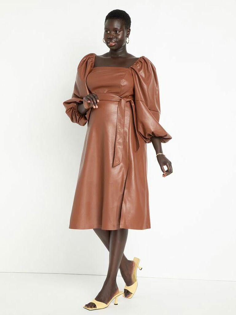 Camel faux leather long cuff sleeve midi fall wedding guest dress