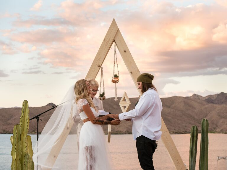 Modern Bohemian Desert Wedding triangular arch