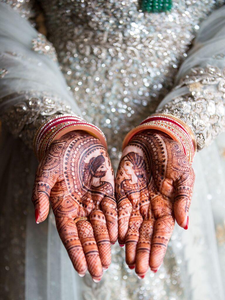 Intricate bridal henna tattoo