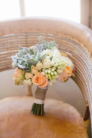 Peach and Ivory Bridesmaid Bouquet