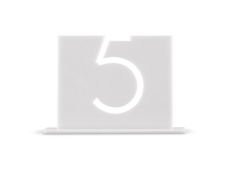 The Knot Shop white acrylic table number