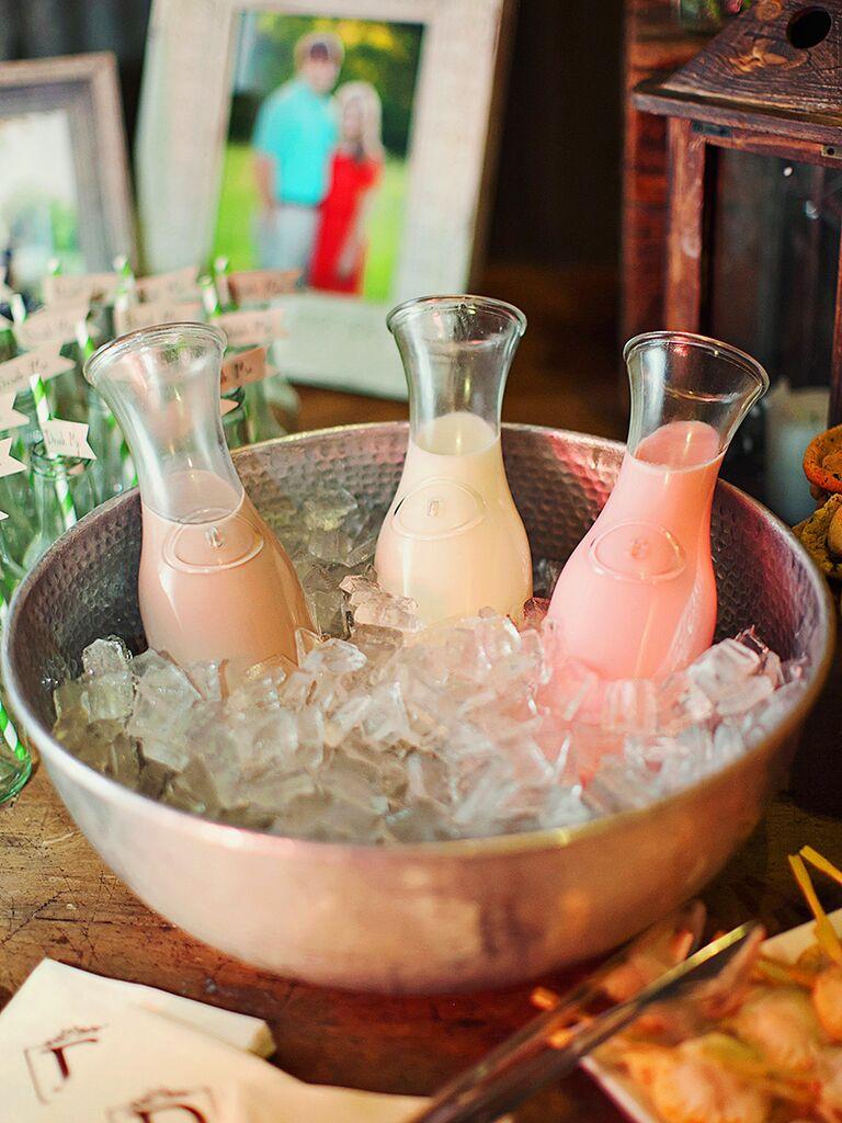 Flavored milk bar for cereal, wedding brunch idea