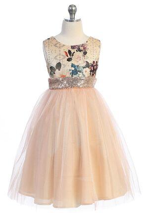 Kid's Dream Vintage Floral Sequin Back V Dress Pink Flower Girl Dress