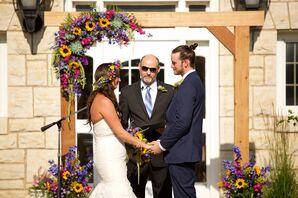 Sunflower, Succulent, Amaranthus, Wood Wedding Arch