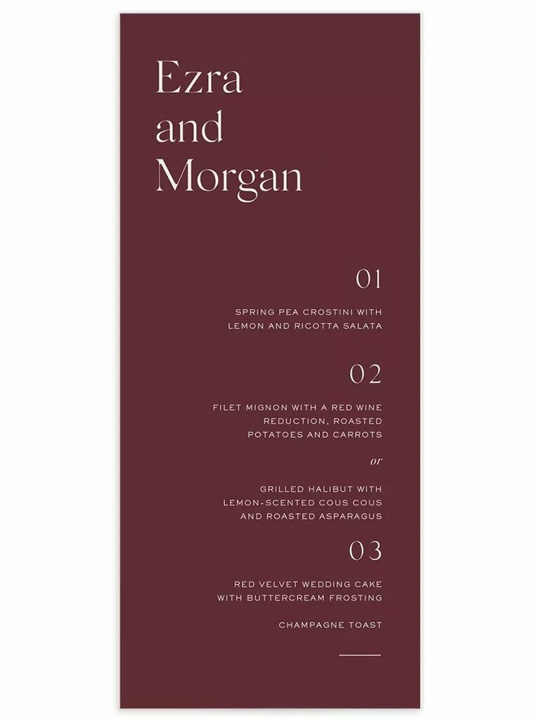 Serif white type on burgundy background with menu items divided by numbers