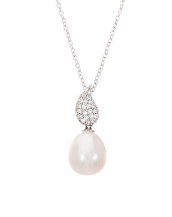 Thomas Laine Sterling Silver White Topaz Teardrop and Freshwater Pearl Necklace Wedding Necklaces photo