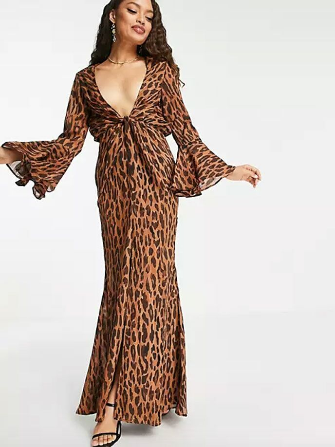 Animal print long sleeve maxi dress for fall weddings