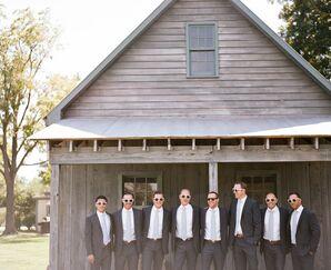Groomsmen in Matching White Sunglasses