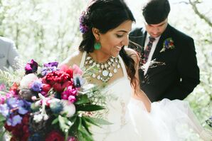 Bohemian Bride with White Necklace and Green Earrings