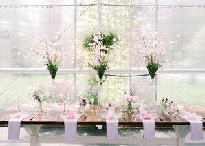 Romantic Dining Table with Tall Cherry Blossom Centerpieces