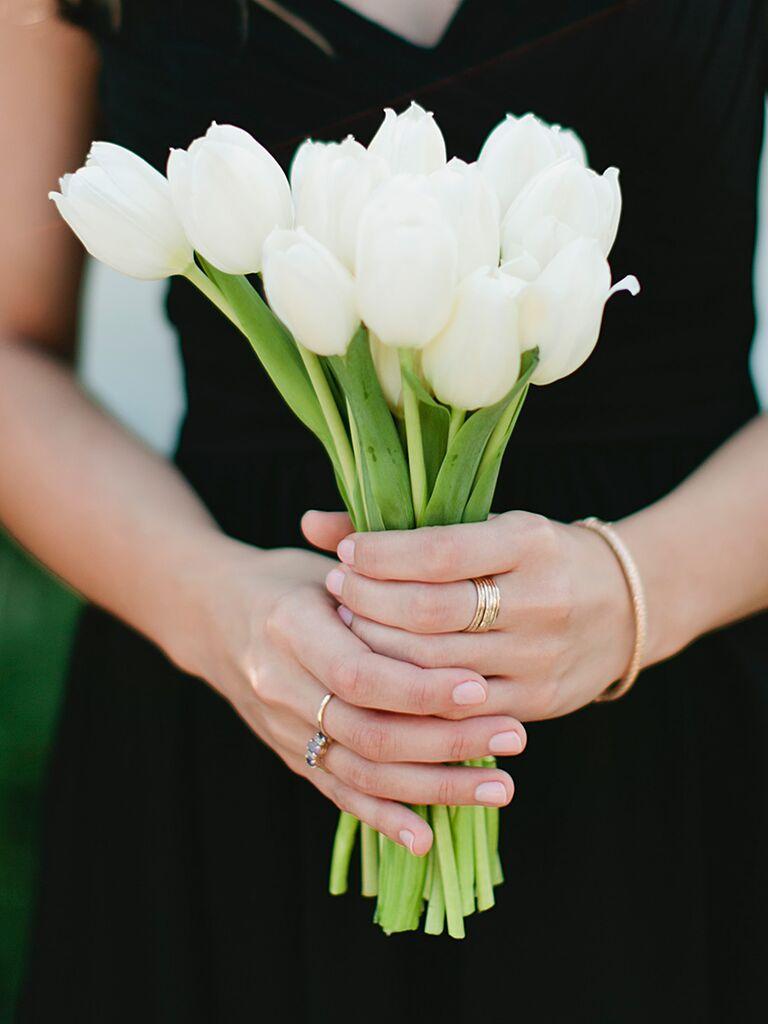 Long stem tulip wedding bouquet ideas