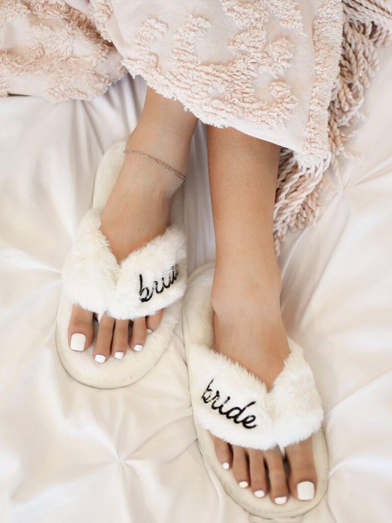 etsy white fur bride slippers with bride label