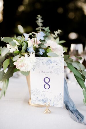 Preppy Table Numbers with Blue Watercolor Flower Illustrations