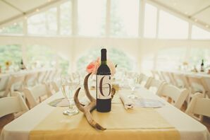 Antler and Wine Bottle Centerpieces