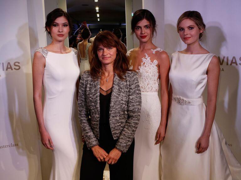 Makeup artist Pati Dubroff and models wearing Pronovias wedding dresses