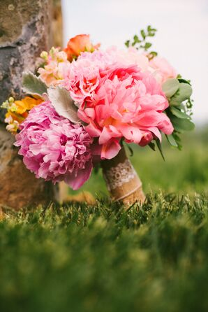 Peony Bridal Bouquet With a Burlap Wrap