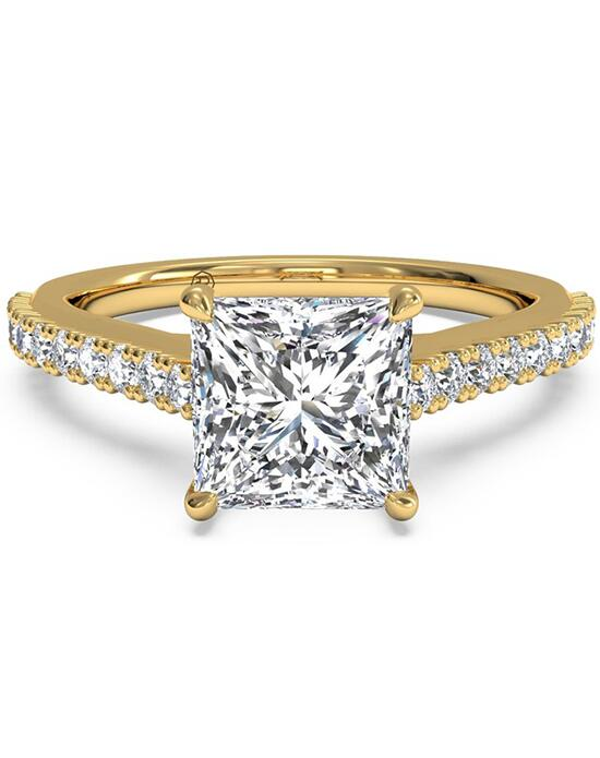 Ritani French-Set Diamond Band Engagement Ring with Surprise Diamonds - in 18kt Yellow Gold (0.24 CTW) for a Princess Center Stone Engagement Ring photo